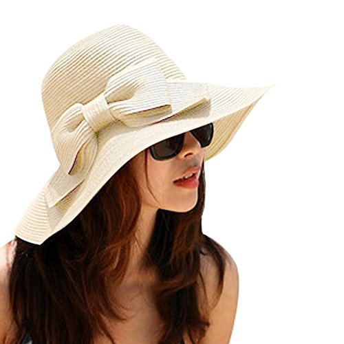 OULII Fashion Foldable Women's Girls Sweet Bowknot Wide Brim Floppy Summer Straw Sun Hat Beach Cap (Beige)