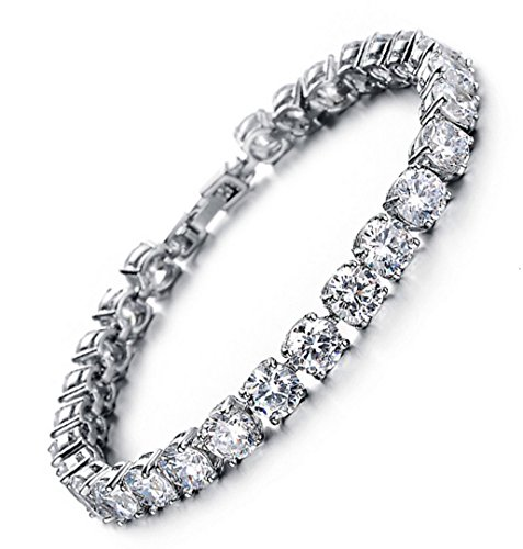 Tennis Bracelet With Swarovski Elements Crystal Jewelry Lady Valentines Gift Zirconia Platinum Plated Bangle Special Gift - 7.4