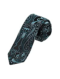 EAEB0135 Black Turquoise Patterned Microfiber Thin Neck Ties Excellent For Working Skinny Tie By Epoint