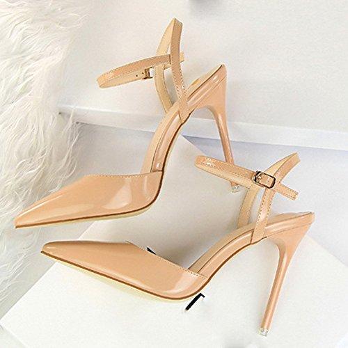 Chaussure wealsex Soirée Talon Pointu Femme Aiguilles Club Mode Simple Cheville Bride Escarpins Sexy Haut Vernis Sandales Mariage Beige Cuir Bar Bout qZx7wqFr