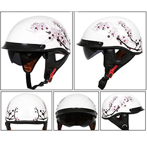 - MMGIRLS Retro Harley Helmet Motorcycle Collision Helmet Glass Fiber Helmet Motorcycle Protection Equipment (White Cherry Blossom),M