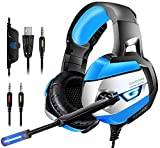 Gaming Headset, ONIKUMA Gaming headphone for PS4, Xbox One (Adapter Need), Nintendo Switch (Audio), PC, Stereo Noise Cancelling Gaming Headset, Dazzling LED Lights and Microphone (K5-Blue)