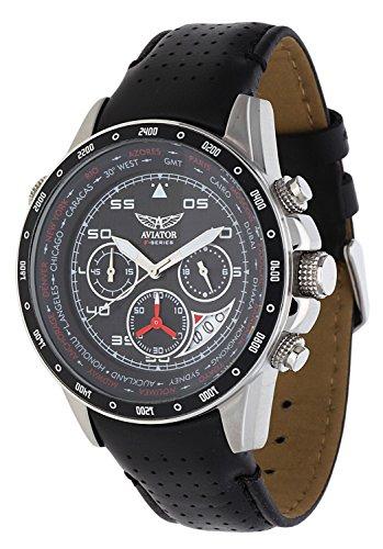 aviator watch men 39 s military quartz pilot chronograph. Black Bedroom Furniture Sets. Home Design Ideas