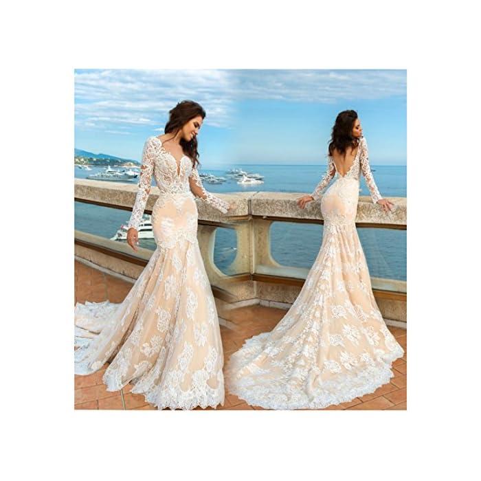 Chady Long Sleeve Mermaid Lace Wedding Dresses 2017 Princess Wedding Dress  Sexy Backless Mermaid Vintage Wedding Dresses