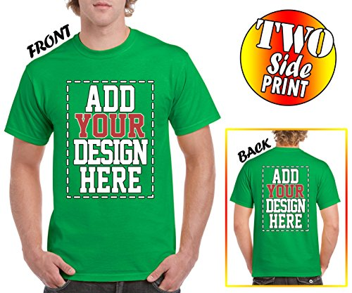 Custom 2 Sided T-Shirts - Design Your OWN Shirt - Front and Back Printing on Shirts - Add Your Image Photo Logo Text ()