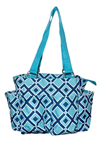 r Tote Bag (Turquoise / Navy Diamond) (Small Tote)