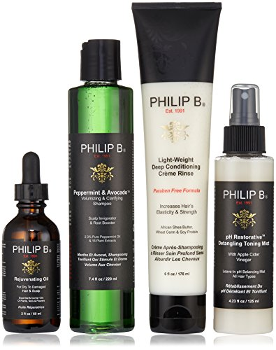 (PHILIP B Four Step Hair and Scalp Treatment Set with Paraben Free Formula Conditioner, 2 fl. oz.)