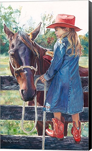 Getting The Brush Off by Wesley Dallas Merritt Canvas Art Wall Picture, Museum Wrapped with Black Sides, 18 x 30 inches