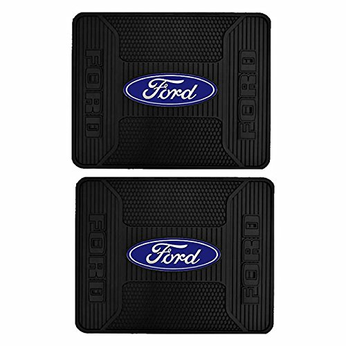 U.A.A. INC. 2pc Elite Series Car Truck SUV Rear Seat Utility Rubber Floor Mats Pair for Ford