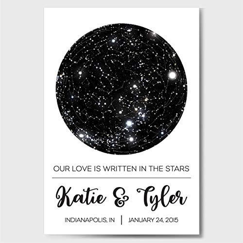 Custom Personalized Star Constellation Map, Star Chart, Custom Engagement Anniversary Birthday Baby Wedding Present, Cool Gift Idea, Night Sky Poster with Frame (Star Charts Maps Constellation)