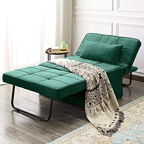 Vonanda Ottoman Sleeper Chair Bed,Mid-Century Soft Tufted Velvet Folding Sofa Bed with Unique Sense of Gloss,Convertible Couch Recliner for Living Room and Homeoffice,Velvet Hunter Green