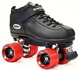 Riedell Dart Black Quad Roller Derby Speed Skates w/ Red Wheels