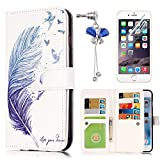 iPhone SE 5 5S Case, Sunroyal Ultra thin Luxury Fashion Flip PU Leather Magnet Stand Wallet Case Cover with Built-in 9 Card Slots [Bird's feather] Crystal Dustproof Pendant + Clear Screen Protector