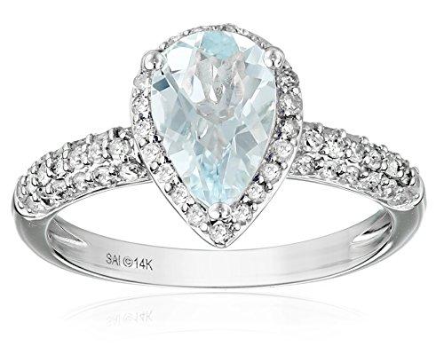 14k White Gold Aquamarine and Diamond (1/2cttw, H-I Color, I2-I3 Clarity) Pear Shape Engagement Ring, Size 7 (Pear Diamond Wedding Ring)