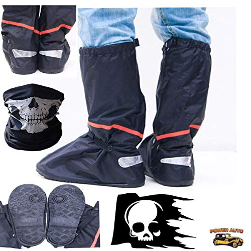 (Motorcycle Boot Covers - Outdoor Protective Riding Rain Suit Gear Waterproof Weatherproof - Full Shoe Slip Over - Rainstorm Rainy Days Plus Skull Decal and Skeleton Riding Face Mask (2X))