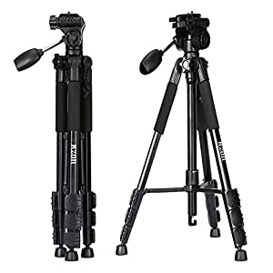 Camera Tripod, Kzon F560 Light Weight Portable Aluminium Travel Tripod With 360 Degree Ball Head and Carry Case For Canon Nikon Sony Olympus DSLR Cameras ...