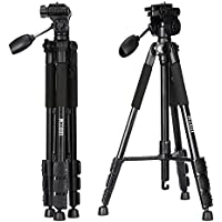 Camera Tripod, KZON K111 Professional Portable Aluminum Camera Tripods with Rocker Arm Ball Head and Travel Carry Case for Canon Nikon Sony SLR Camera and Video Camcorder