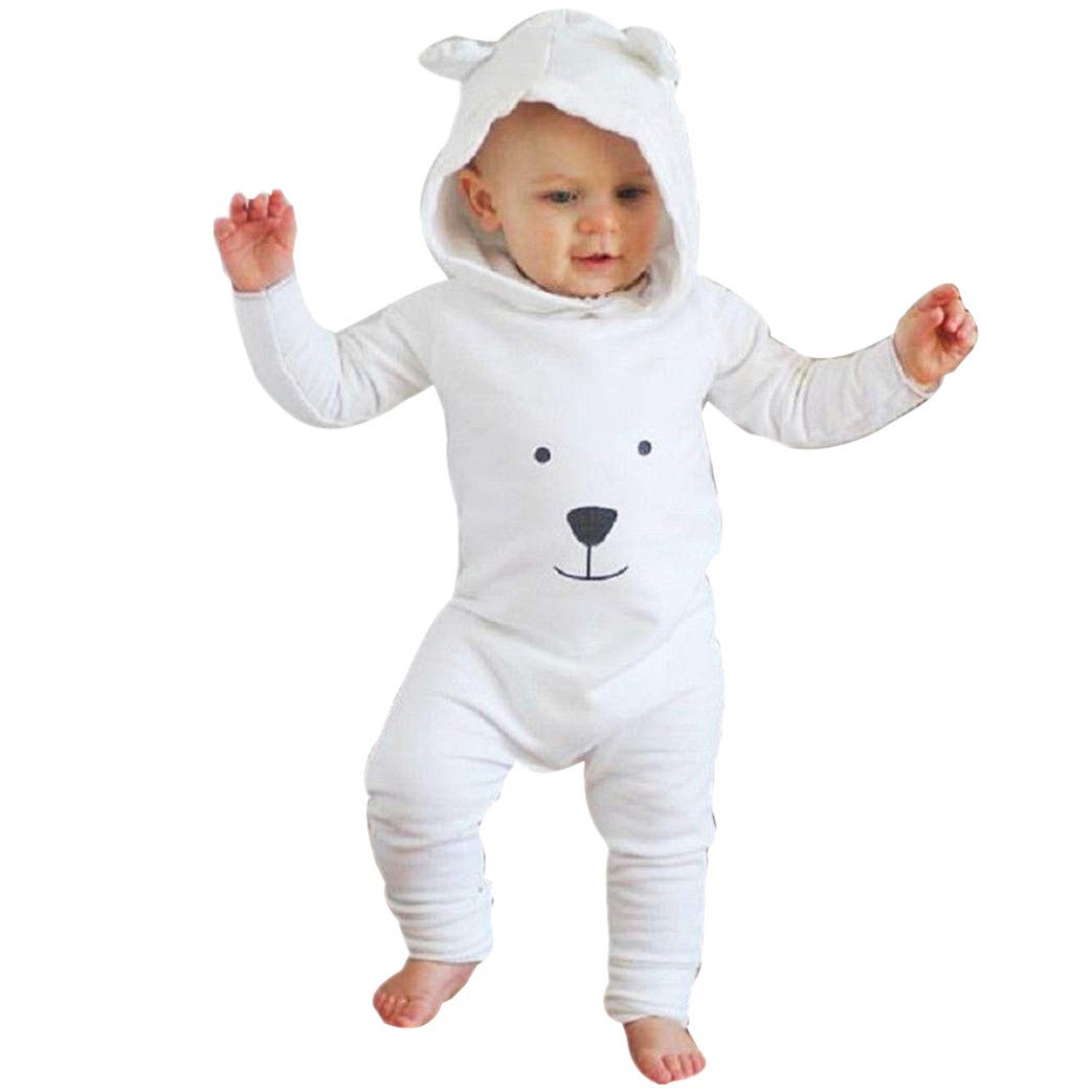 Onefa Infant Baby Boy Girl Winter Warm Clothes Hooded Cartoon Flannel Romper Jumpsuit