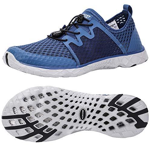 ALEADER Mens Walking Shoes Aquatic Sneakers for Beach, Swim, Pool, Kayaking, Boating Navy/Gray 13 D(M) US