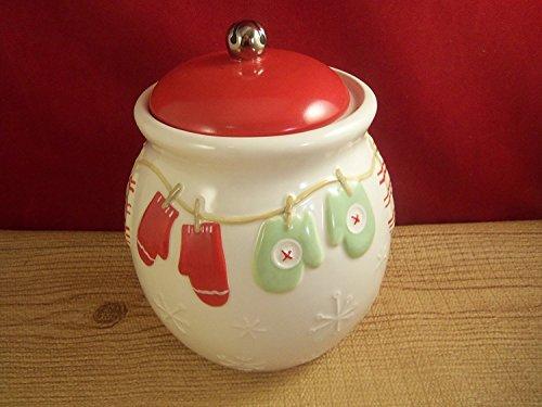 Hallmark Christmas Mittens Holiday Ceramic Holiday Cookie Candy Jar 6