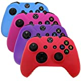 xbox one controller covers - HDE Controller Skins for Xbox One Controller 4 Pack Combo Silicone Rubber Protective Grip Case Cover for Microsoft Xbox One Wireless Gamepads (Blue, Red, Purple, Pink)