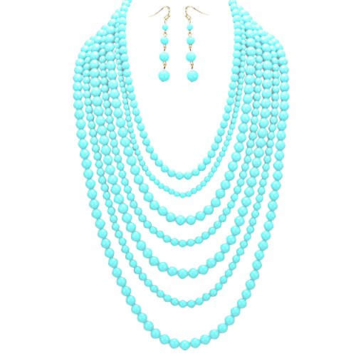 [Rosemarie Collections Women's Fashion Jewelry Set Beaded Multi Strand Bib Necklace (Sky Blue)] (Tiffany Blue Costume Jewelry)