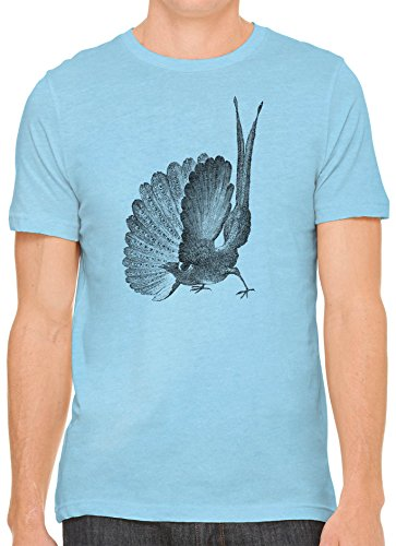 Austin Ink Apparel Unisex Fine Jersey Great Argus Pheasant Print Soft T-Shirt (Ocean Blue Blue, S)