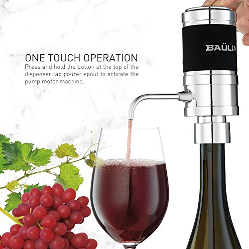 Baulia WA819 Electric Aerator – One Touch Operation Instantly Allow Wine to Breath, Pump Dispenser with Vacuum Sealer, Silver