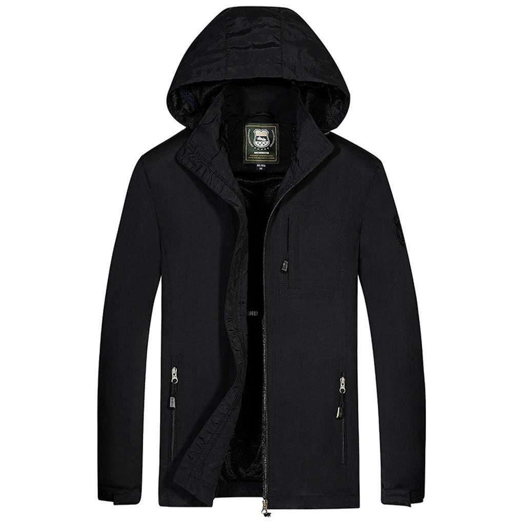 Pervobs Men's Waterproof Rainjacket Winter Hoodie Removable Hood Breathable Full Zipper Sport Outdoor Coat Jacket(2XL, Black) by Pervobs Men Coat&Jacket