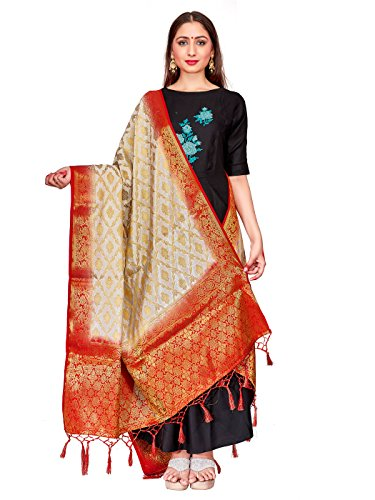 ELINA FASHION Women's Zari Work Indian Banarasi Art Silk Woven Only Dupatta For Dress Material & Salwar Suit (Off White 2)