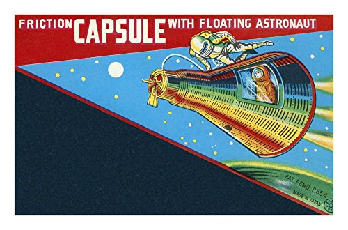 (Global Gallery Retrorocket Friction Capsule with Floating Astronaut-Giclee on Paper Print-Unframed-13 7/8 x 22 in Image Size, 13 7/8