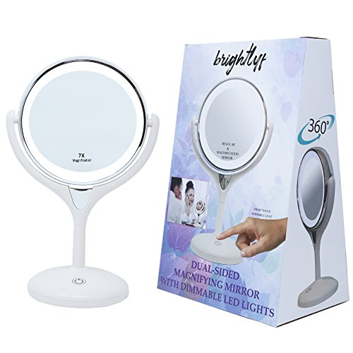 BrightLyf Double Sided 7X Magnifying Makeup Cosmetic Vanity Mirror | Dimmable LED Lighted Smart Touch Activated | Light weight Cordless Battery Operated Dual-Mirror (7X MAGNIFICATION)