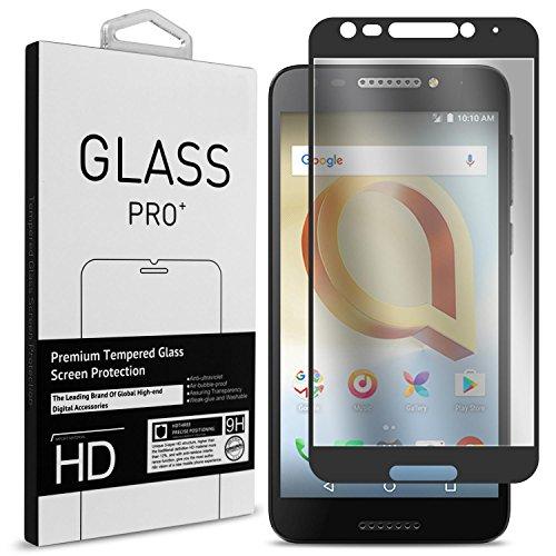 TMobile REVVL Screen Protector, Alcatel A30 Plus Screen Protector, Alcatel A30 Fierce Screen Protector, CoverON InivisiGuard Tempered Glass Screen Protector Full Coverage Design - Clear/Black Border