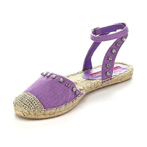 C LABEL ADLER-6 Womens Studded Rhinestone Ankle Strap Espadrille Flats, Color:PURPLE, Size:5.5