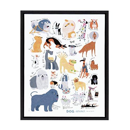 Kate and Laurel Sylvie Dog Alphabet Framed Canvas Art by LIDA Larina 18x24 Black (Dog Prints Framed)