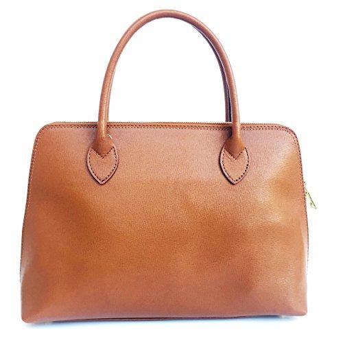SUPERFLYBAGS Damen handtasche Modell Circ Echtes Saffian Leder 39x26x11 cm Made in Italy cognac Qtp27R3