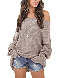 Women Casual Over Size Loose Off Shoulder Knit Sweater Tops