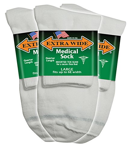 Diabetic Socks Seamfree (Extra Wide White Mens Medical (Diabetic) Quarter (Anklet) Sock 3PK -Size 11-16 Up to 6E, Antimicrobial, Made in USA!)