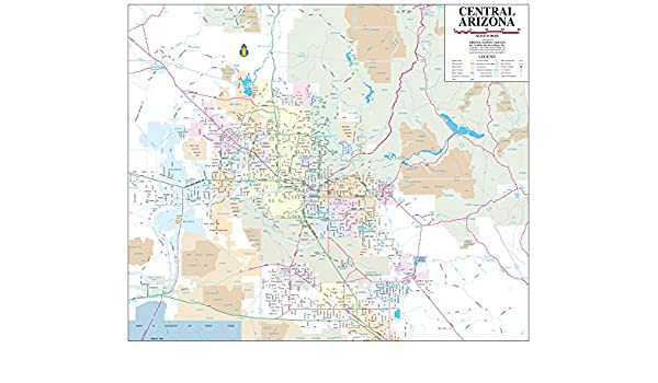 Map Of Central Arizona.Central Arizona Small Wall Map Dry Erase Laminated Phoenix Mapping