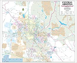 Map Of Central Arizona.Central Arizona Small Wall Map Dry Erase Laminated Phoenix