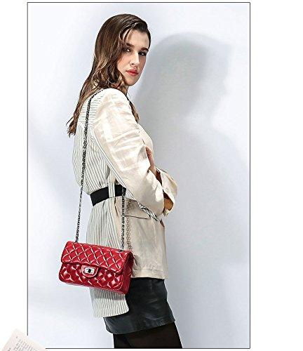 messenger bandoulière sac Sacs Classique Crossbody tout Véritable main femmes Satchel Cuir chaîne haut à Red Fourre pour Lingge de gamme sacs à les sac xxHUqT4w