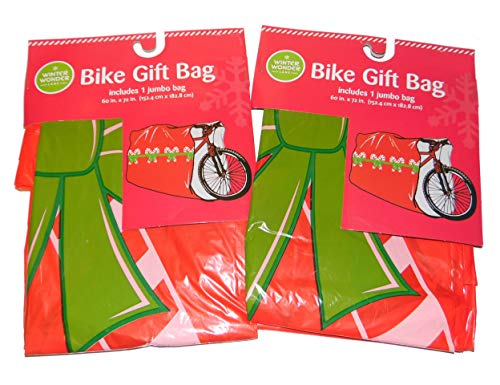 Set of 2 Large Bike Gift Bag Red with Candy Canes Christmas Holiday Wrapping 60 x 72 inches