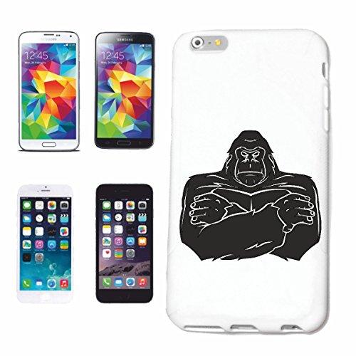 """cas de téléphone iPhone 7S """"STRONG GORILLA MONKEY MONKEY GORILLA CHIMP SILVER RETOUR APE CHARLY MONKEY KING KONG"""" Hard Case Cover Téléphone Covers Smart Cover pour Apple iPhone en blanc"""