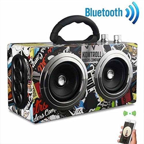 Portable Wireless Bluetooth Speaker Louder Stereo Super Bass Subwoofer Dancing Loudspeaker for Golf, Beach, Shower & Home (Black) - Subwoofer Golf