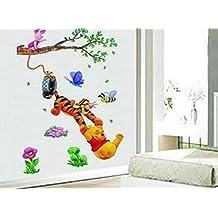 Revesun Kids room decor Cartoon wall stickers Winnie the Pooh and Tigger Wall Sticker Kids room decor