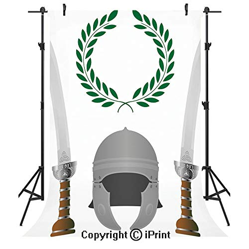 Toga Party Photography Backdrops,Roman Glory Heritage Knight Fourth Variant Shield Legend Illustration Decorative,Birthday Party Seamless Photo Studio Booth Background Banner 6x9ft,Grey Hunter Green -