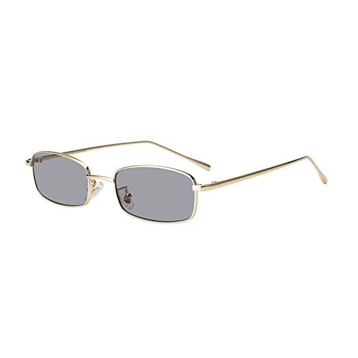 31eb9ad6d22bf WOWSUN Clout Goggle Vintage Sunglasses Small Square Candy Color Design for  Women (Gold-Light
