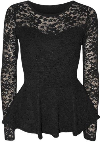 WearAll Women's Lace Bodycon Peplum Top - Black - US 8-10 (UK 12-14)