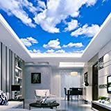 Sykdybz 3D Silk Cloth Wallpaper Blue Sky White Clouds Ceiling Mural Sky Ceiling Wallpaper Three Dimensional Living Room Bedroom roof Wall Covering roof Wallpaper 200x100cm