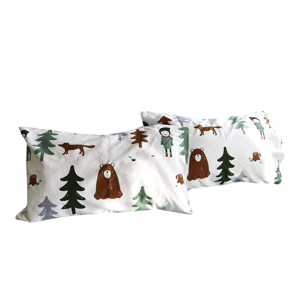 BuLuTu Cotton Siberia Forest Theme Bed Pillowcases Set of 2 Queen White/Green Kids Pillow Covers Decorative Standard for Boys Envelope Closure End-Premium,Ultra Soft,Hypoallergenic (2 Pieces,20''×26'') by BuLuTu